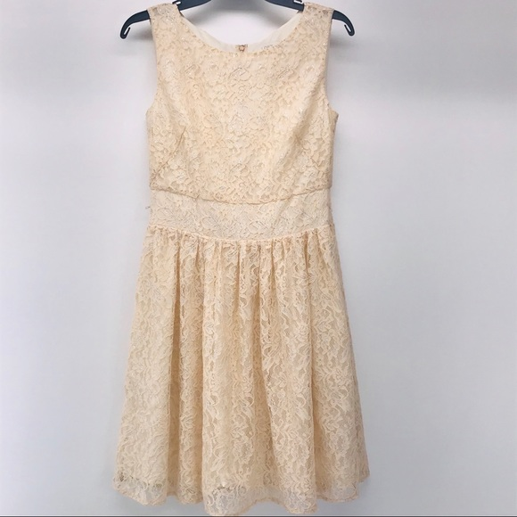 Loft Sparkly Cream Lace Tank Dress 2